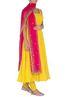 Yellow Anarkali Set WIth Embroidered Dupatta by Mint Blush