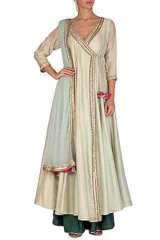 Green Embroidered Angrakha Anarkali Set by Mint Blush