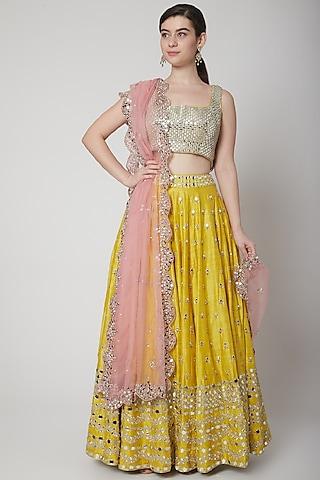 Yellow & Pink Embroidered Lehenga Set by Mint Blush