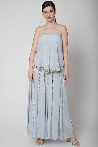 Powder Blue Embroidered Top & Pants by Mint Blush