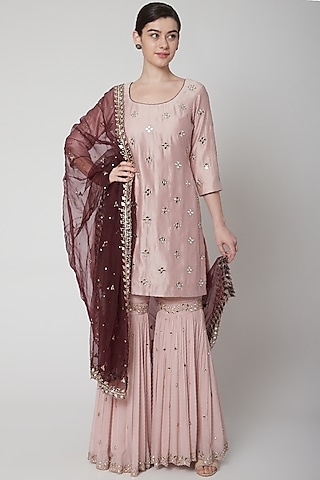 Rose Gold Pink & Wine Embroidered Sharara Set by Mint Blush
