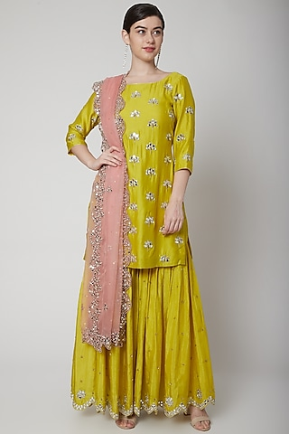 Bright Green & Pink Embroidered Sharara Set by Mint Blush