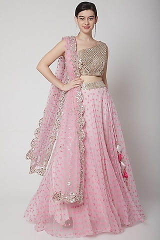 Soft Pink Embroidered Lehenga Set by Mint Blush