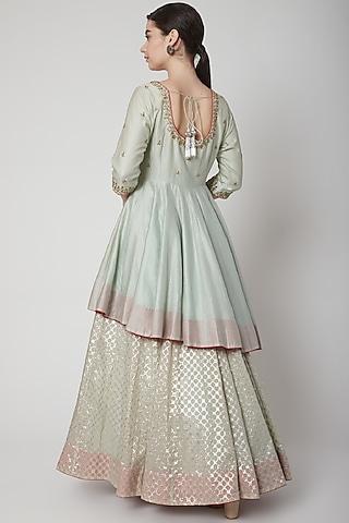 Mint Green Embroidered Lehenga Set by Mint Blush