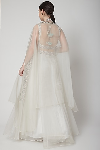 White Embroidered Cape & Skirt Set by Mint Blush