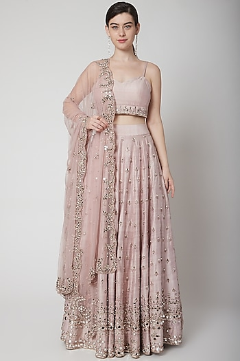 Rose Gold Pink Embroidered Lehenga Set by Mint Blush