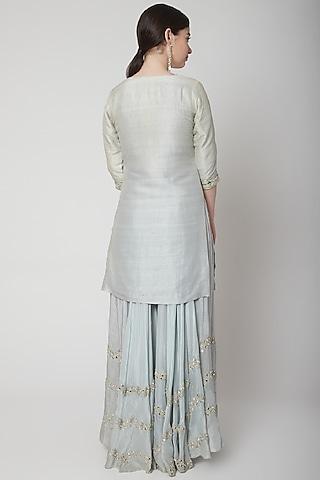 Powder Blue Embroidered Kurta Set by Mint Blush