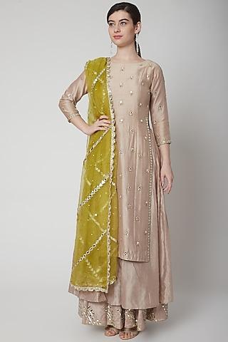 Blush Pink Embroidered & Layered Kurta Set by Mint Blush