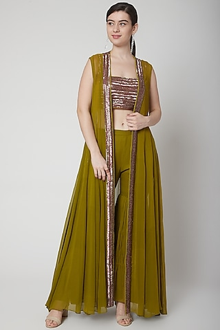 Deep Green Embroidered Sharara Set by Mint Blush