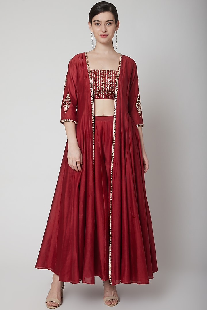 Deep Red Embroidered Cape Set by Mint Blush