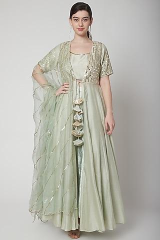 Mint Green Embroidered Kurta Set by Mint Blush