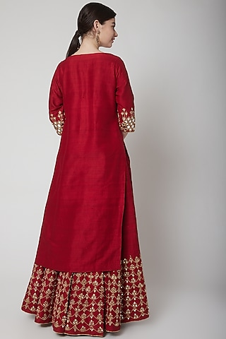 Deep Red Embroidered Lehenga Set by Mint Blush
