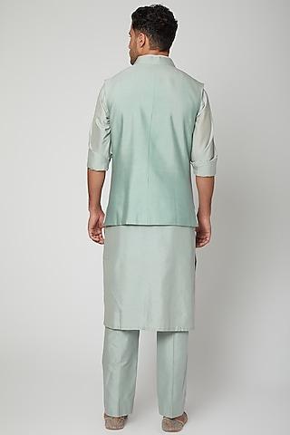 Teal Blue Embroidered Bundi Jacket With Kurta Set by Mint Blush Men