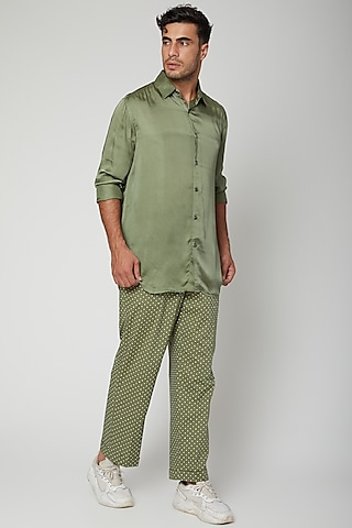 Olive Green Shirt With Pants by Mint Blush Men