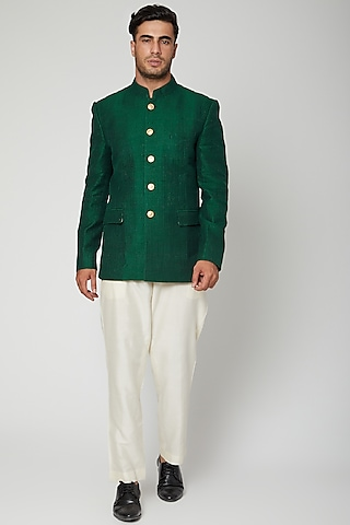 Bottle Green Embroidered Bandhgala Jacket With Pants by Mint Blush Men