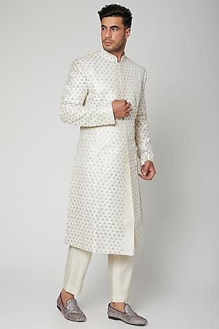 Ivory Embroidered Sherwani Set by Mint Blush Men