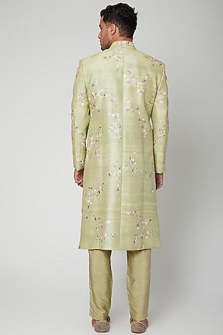 Pista Green Embroidered Sherwani Set by Mint Blush Men