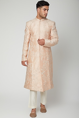 Peach Embroidered Sherwani Set by Mint Blush Men