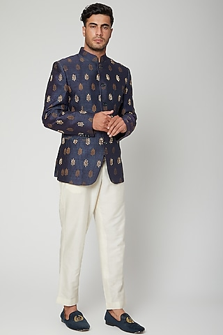 Cobalt Blue Printed & Embroidered Bandhgala Jacket Set by Mint Blush Men