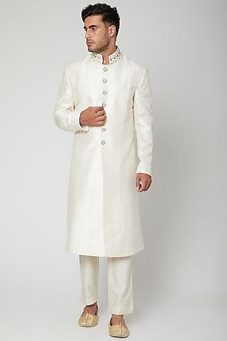 Ivory Embroidered Collared Sherwani Set by Mint Blush Men
