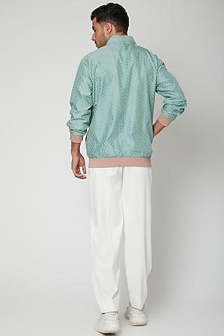 Teal Blue Polka Dot Bomber Jacket With Pants by Mint Blush Men