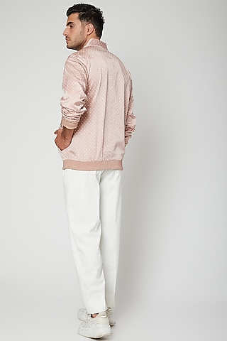 Mauve Printed Bomber Jacket With White Pants by Mint Blush Men