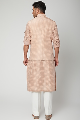 Lilac Printed Jawahar Jacket With Kurta Set by Mint Blush Men