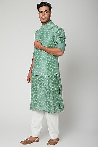 Teal Blue Printed Jawahar Jacket With Kurta Set by Mint Blush Men