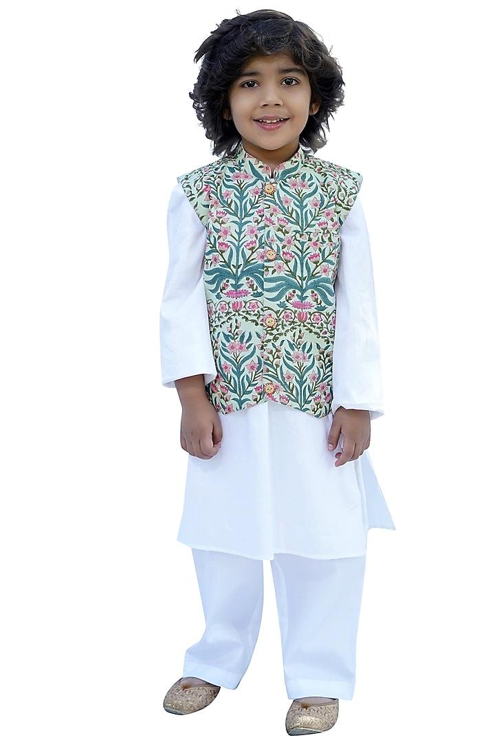 Cream Block Printed Nehru Jacket & Kurta Set by MINIME ORGANICS
