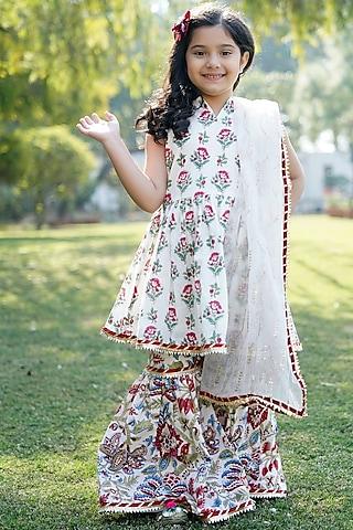 Cream Floral Printed Sharara Set by MINIME ORGANICS