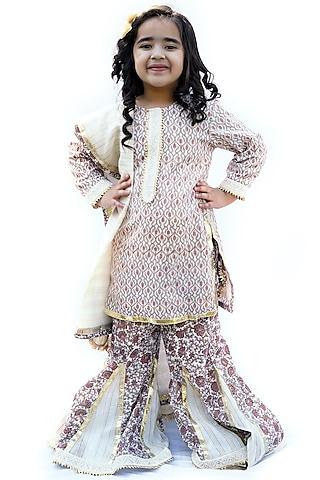 Cream Block Printed Sharara Set by MINIME ORGANICS