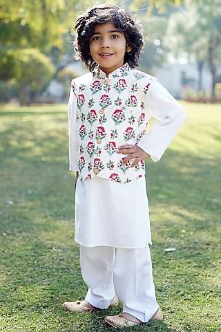 Cream Block Printed Nehru Jacket Set by MINIME ORGANICS