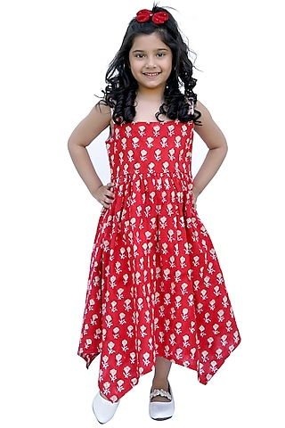 Red Block Printed Dress by MINIME ORGANICS