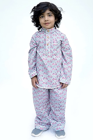 Grey Scooter Block Printed Night Suit by MINIME ORGANICS