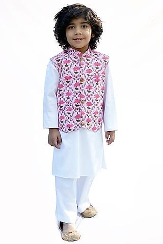 Pink & Cream Block Printed Nehru Jacket Set by MINIME ORGANICS