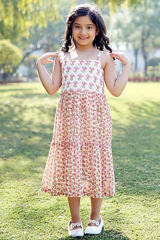 Cream Block Printed Dress by MINIME ORGANICS