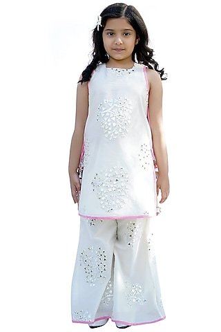 Cream Chanderi Silk Sharara Set by MINIME ORGANICS