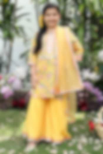Yellow Block Printed Sharara Set by MINIME ORGANICS