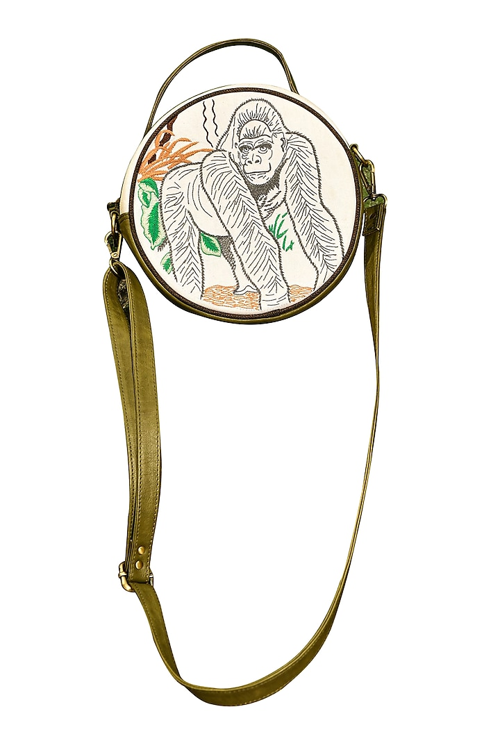 White & Olive Green Embroidered Round Sling Bag by Mixmitti