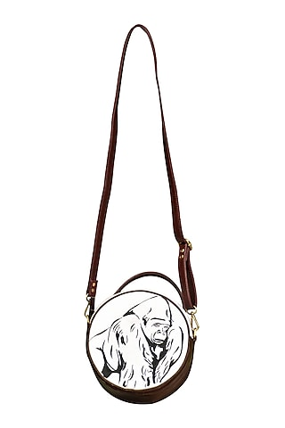 Brown & White Embroidered Round Sling Bag by Mixmitti