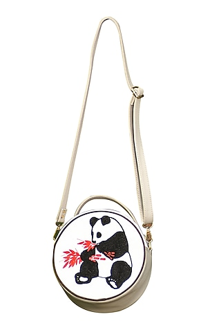 White & Grey Embroidered Round Sling Bag by Mixmitti
