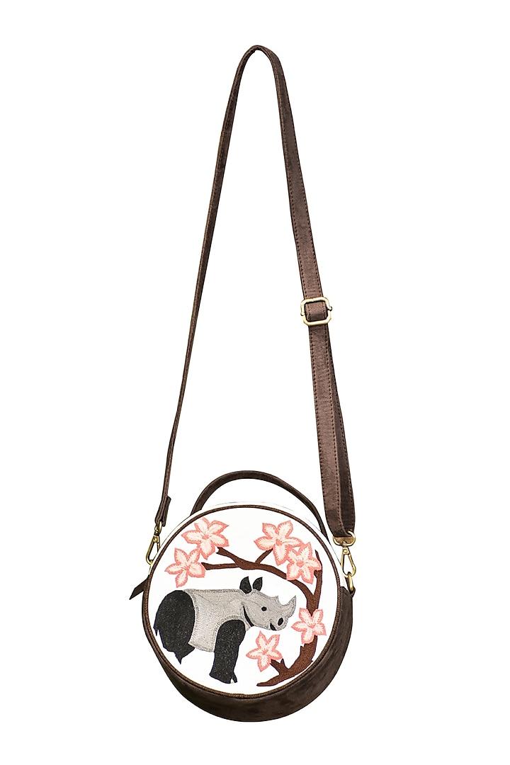 White & Dark Grey Embroidered Round Sling Bag by Mixmitti