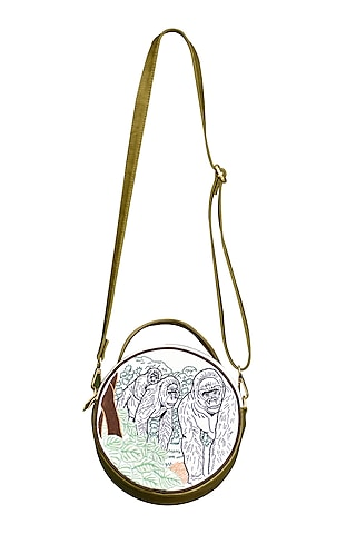 Olive Green & White Embroidered Round Sling Bag by Mixmitti