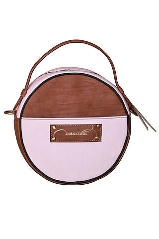 Salmon Pink & White Embroidered Round Sling Bag by Mixmitti