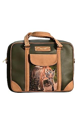 Dark Green Printed Laptop Bag by Mixmitti