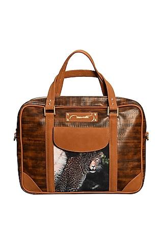 Brown Printed Laptop Bag by Mixmitti