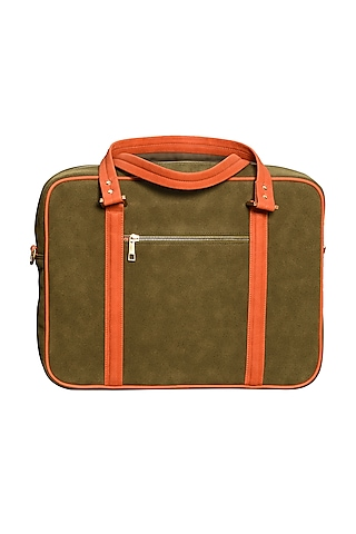 Olive Green Printed Laptop Bag by Mixmitti