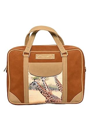 Tan Brown Printed Laptop Bag by Mixmitti