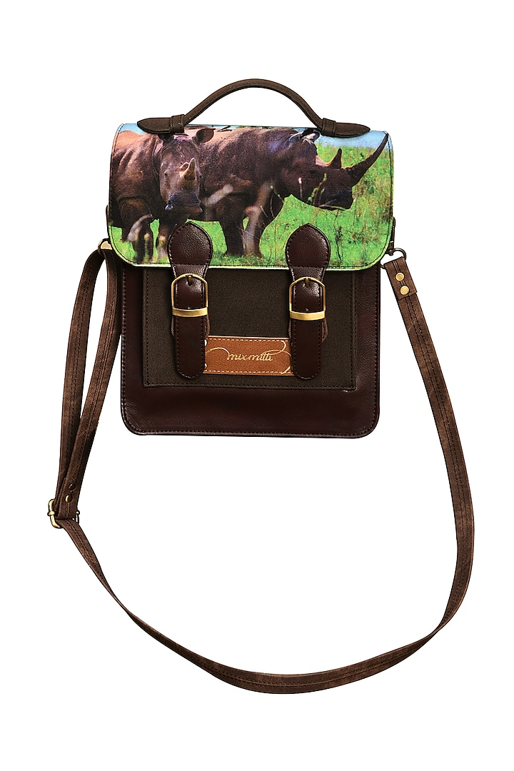 Multi Colored Faux Suede Printed Handbag by Mixmitti