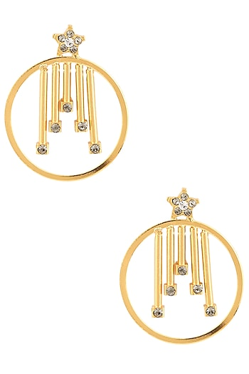 Gold Finish Swarovski Crystals Geometric Round Earrings by Sonnet Jewellery